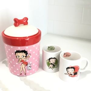 Betty Boop Canister W/ Lid & Two Mugs